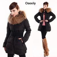 New 2013 Autumn Winter Large Fur Collar Medium-long Down Coat Women Real Down Jackets Free Belt,Big Size, S-3XL,Free Shipping