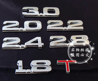 High quality metal car displacement v6 v8 4wd 1.8 2.0 2.2 2.4 3.0 t emblem