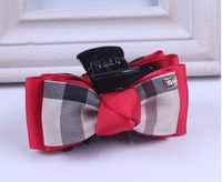 wholesale red color British style cute plaid bow bowknot hair claw clips for kids girls women hair grips Free shipping