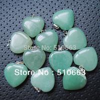 Free Shipping ! (50 Pieces/Lot),Nature Green Aventurine Stone,Beads Pendant,,Heart Shape,Semi Precious Stone,Size: 20mm,