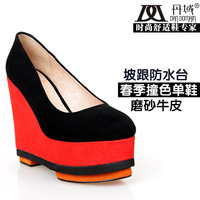 2013 spring wedges platform ultra high heels shoes low-top sistance of nubuck leather shoes single color block