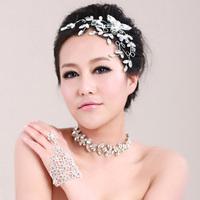 Fashion Wedding birde headwear flower leaves rhinstone headdress+carcanet 2pcs/set wedding accessories free shipping.
