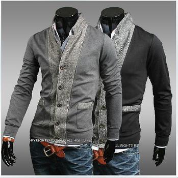 men's fashion splicing sleeve head collar Hoodie