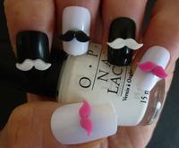 Free Shipping 3D Kawaii Nail Art Black Hot Pink White Moustache Movember 3D Nail Art Decoration Cellphone Decoration 100pcs/bag