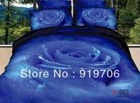 Hot New Beautiful 100% Cotton 4pc Doona Duvet QUILT Cover Set bedding sets Full Queen King size 4pcs flower blue rose