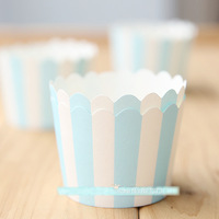 Free Shipping blue white striped paper cupcake baking supplies cups liners cases, wedding party party decoration mini cake cup