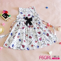 100% cotton cloth child female child black butterfly dress