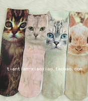 Double HARAJUKU 6 topshop vintage the cat pile of pile of socks print cotton short socks