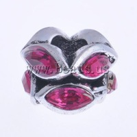 Free shipping!!!Zinc Alloy European Beads,Jewelry Brand, Flower, with acrylic rhinestone & without troll, nickel