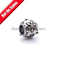 Sunflower Sunflower 925 Sterling Silver Slide Charm Beads with Crystal Fit European Thread Charm Bracelets Necklaces XS013