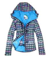 Free shipping 2013 new ladies colorized plaid waterproof warm snowboard jacket women colorful grid skiing jacket anorak skiwear
