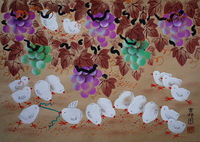 Grapes and chicken, Huxian peasant paintings, hotel and home furnishing decoration painting.