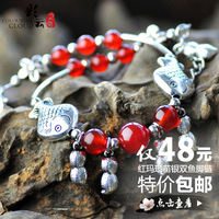 free shipping high quality Gift chinese style handmade miao silver red agate piscean anklets Women lucky