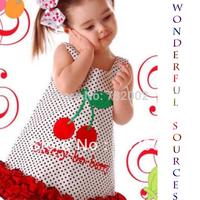 Retail+Free Shipping New 2014 New Summer Girls' Dresses,Sleeveless Dress,cute cherry Dress,Baby kids clothing