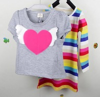 2013 retail fashion children's cotton/polyester T shirt set, girls heart stripe clothing set, 3 color option