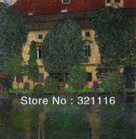 Free Shipping Farm House with Lake By Gustav Klimt Canvas Print Decorative painting Wall decoration AA00057g-okt 50x50cm