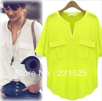 Free shipping!2013 women's fashion summer short-sleeve V-neck 100% cotton modal T-shirt basic summer shirt/women tops