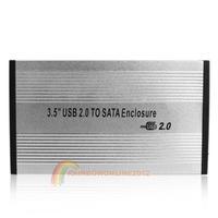 R1B1 3.5 inch Silver USB 2.0 SATA External HDD HD Hard Drive Enclosure Case Box