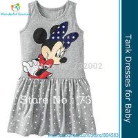 Free Shiping!2014 New Summer Girls' Dresses,Sleeveless Dress,Cartoon Minnie Dress,Baby/Kids/Girls/Infant Clothes,5sets/lot,Cheap