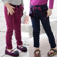 Retail hot children's trousers girls pants bow lace decoration cotton winter kids girl legging 1pcs free shipping