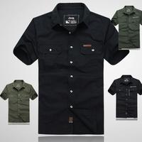 Male short-sleeve shirt men's clothing 100% business casual cotton shirt black plus size plus size