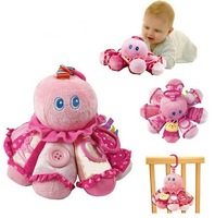 candice guo! baby plush toy multi-purpose pink octopus baby dressing early learning with safe mirror 1pc