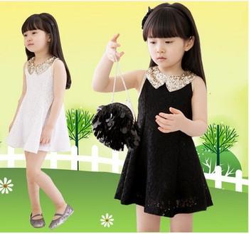 Girls Sequins lace dress princess Chiffon dress lace dress LG4334CH