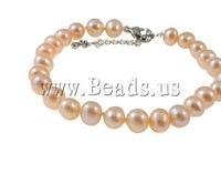 Free shipping!!!Natural Cultured Freshwater Pearl Jewelry Sets,Exaggerated, bracelet & necklace, Round, natural, pink, 7mm
