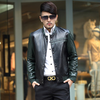Free Shipping Ike male genuine leather 2013 clothing coat jacket sheepskin stand collar ch104