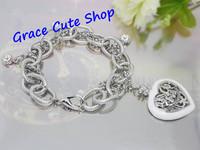 Free Shipping Charm Bracelet Heart Pendant Bracelet Brand Jewelry Top Quality Package (Dust bag,Gift Box) #JCB113-White