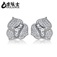 Gulance 925 pure silver stud earring flower jewelry silver jewelry stone diamond earring