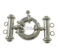 Free shipping!!!Brass Spring Ring Clasp,Womens Jewelry, Donut, platinum color plated, 2-strand, nickel, lead & cadmium free