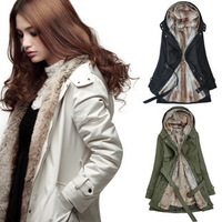 Women fashion 2013 winter outerwear women's wool liner trench medium-long thermal thick wadded jacket overcoat Ladies outerwear