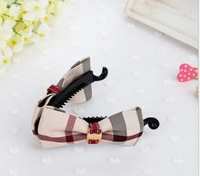 wholesale cute beige color British style plaid cover big size bow hair claw clip for kids girls women banana pins Free shipping