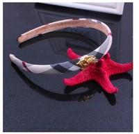 100% guarantee!Free shipping wholesale British style plaid cover cartoon horse design hair bands for kid headband girls headwear