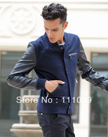 Free Shipping 2013 Hot Men's Jackets single Platoon Buckle  Woolen Stand-up collar fashion Dust Coat Male Coat