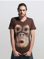 Men's short-sleeved T-shirt Liszt 3D Monkey T-shirt round neck cotton T-shirt coffee xxxl free shipping wholesale