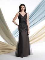 Sleeveless illusion slim A-line dress front deep V-necklines mom of the bride