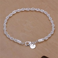 FREE SHIPPING,5PCS 925 sterling silver   4MM rope Necklace / chain bracelet,925 silver jewelry ,925 silver fashion  bracelet