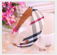 100% guarantee!Free shipping wholesale 2013 cute British style plaid cover headband hair bands for kid headband girls headwear
