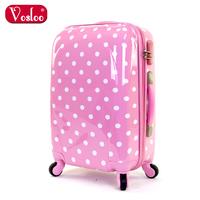 Vosloo polka dot luggage female trolley luggage travel bag luggage bag 20 24 universal wheels