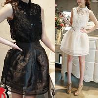 Women's quality sexy gauze one-piece dress pure cotton vest lace puff skirt three piece set