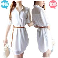 Short-sleeve chiffon one-piece dress summer women's patchwork plus size loose button shirt one-piece dress