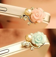 Blue Rose Flower Pattern 3D Crystal Bead Pearl Charm Anti Dust Plug Headphone Jack for Iphone 4 4s / Ipad / Ipod Touch / 3.5mm