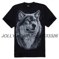 Free Shipping 2013 Personality Rock Style Fashion Cotton 3D Wolf Print Men's T Shirt S/XXL 5 Sizes K16