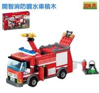 Free shipping KAZI 206pcs Christmas Plastic building block sets enlighten bricks blocks eductional kids toys Fire Fight car
