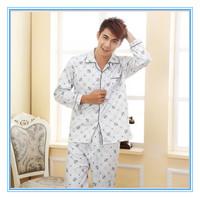 New Style Long Sleeve Knitted Cotton Men Homewear Sleepwear Set  Plus Size Spring Autumn Noble Plaid Casual Homewear Set for Men
