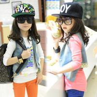 2013 free shipping korean style kids denim vest fashion girls demin jacket waistcoat