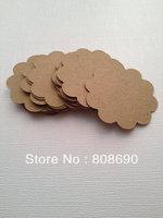 """Set of 100 Die Cut Scallop Circle Gift Tag / Price Tag / Display Card in Brown Kraft Paper Cardstock- ( 2.5"""" )"""