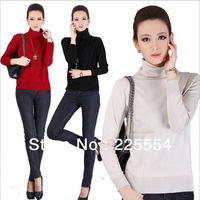 2013 New arrival autumn winter women's high neck Long sleeve pullover sweater stretchy knit slim bottoming shirt jumper .